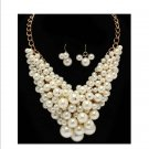 Huge Chunky Lucite Cream & Gold Pearl Cluster Balls & Baubles Bib Necklace Earring Set  Prom Bridal