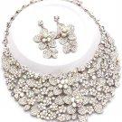 Clear AB Aurora Borealis Floral Chunky Rhinestone Statement Bib Necklace Bridal Prom Pageant