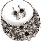 Clear Black Floral Chunky Rhinestone Statement Bib Necklace Bridal Prom Pageant