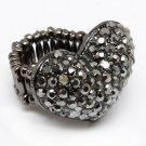 Swarovski Crystal Rhinestone Chunky Puffy Large Hematite Gray Heart Stretch Ring Valentines Day