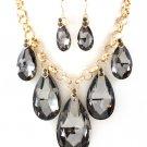 Huge Chunky Black Gray Crystal Ice Glass Tear Drop Teardrop Bib Necklace Earring Set  Prom Bridal