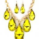 Huge Chunky Yellow Green Crystal Ice Glass Tear Drop Teardrop Bib Necklace Earring Set  Prom Bridal
