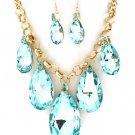 Huge Chunky Light Blue Crystal Ice Glass Tear Drop Teardrop Bib Necklace Earring Set  Prom Bridal