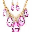Huge Chunky Pink Crystal Ice Glass Tear Drop Teardrop Bib Necklace Earring Set  Prom Bridal