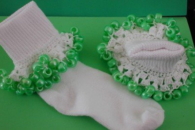 Girls Custom Beaded Crocheted Socks-Ladies Sizes Available