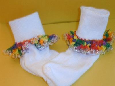 Girls Custom Beaded Crocheted Socks-Ladies Sizes Available