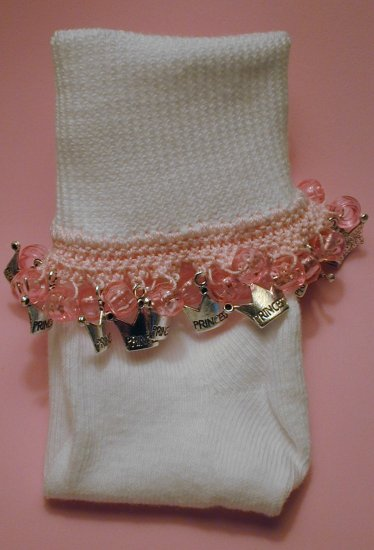 Girls Pink Princess Custom Beaded Crocheted Socks-Ladies Sizes Available