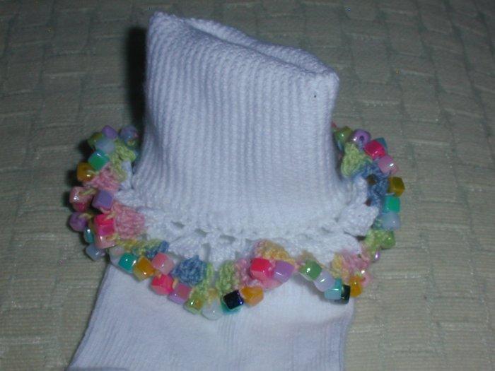 Girls Mini Beads Custom Beaded Crocheted Socks-Ladies Sizes Available
