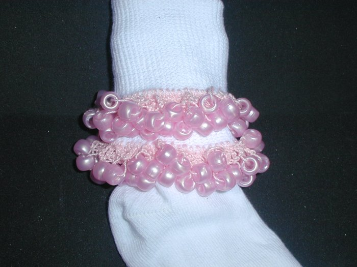 Girls Pink Custom Beaded Crocheted Socks-Ladies Sizes Available