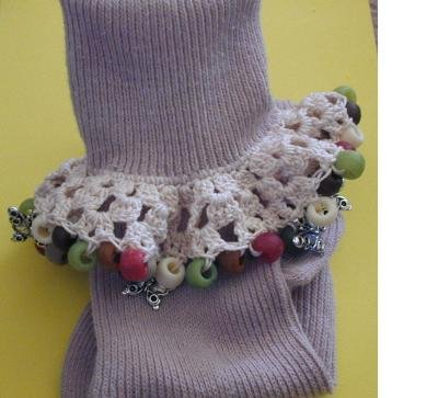 Women's Beaded Crochet Sock Dark Tan Butterfly Charms