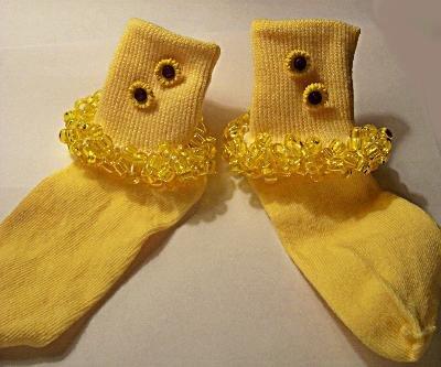 Girl's Beaded Yellow Sunflower Socks