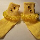 Girl's Beaded Yellow Sunflower Socks