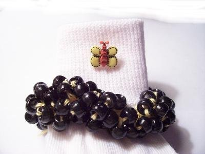 Black and Yellow Girls Beaded Butterfly Socks