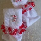 Red and White Candy Cane Crocheted Beaded Socks