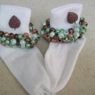 Fall Colored Brown Leaves Crocheted Beaded Socks: Brown and Blue