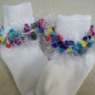 Fun and Festive White and Multicolored Hand Crocheted  Fur Trimmed Socks