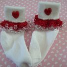 Valentine Girls Custom Beaded Crocheted Socks-Ladies Sizes Available