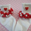 Valentine Girls Custom Beaded Crocheted Socks Red and White-Ladies Sizes Available