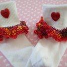 Valentine Girls Custom Beaded Crocheted Socks Fiesta Red -Ladies Sizes Available