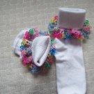 Custom Spring Rainbow Crocheted Beaded Bobby Socks Pink
