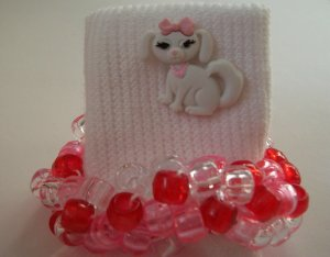 Pink and Red Puppy Dog Beaded Crocheted Socks