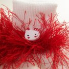 Fluffy Red Hello Kitty Crocheted Bobby Socks