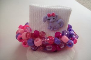 Pink and Purple Puppy Dog Beaded Crocheted Socks
