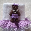 Purple Princess Bear Girls Custom Beaded Crocheted Socks