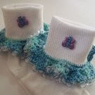 Blue Sparkle Butterfly Girls Custom Beaded Crocheted Socks