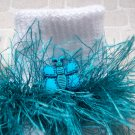 Furry Blue Butterfly Fluffy Girl's Crocheted Socks