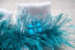 Furry Blue Butterfly Fluffy Girl's Crocheted Socks