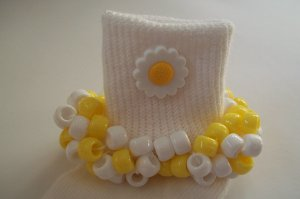 Craizy Daisy Flowered Yellow and White  Beaded Crocheted Socks