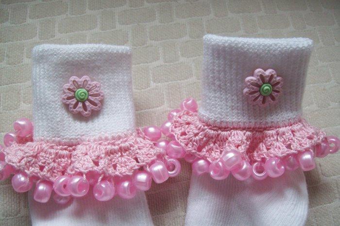 Pink Flowered  Girls Custom Beaded Crocheted Socks