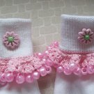 Pink Flowered  Girls Custom Beaded Crocheted Socks