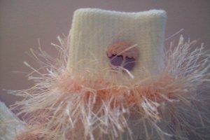 Furry Pink Cupcake Fluffy Girl's Crocheted Socks