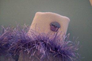 Furry Purple Cupcake Fluffy Girl's Crocheted Socks