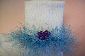 Furry Blue Butterfly Dream Fluffy Girl's Crocheted Socks