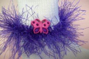 Furry Purple Butterfly Dream Fluffy Girl's Crocheted Socks