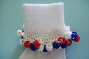 Patriotic Red White and Blue Girls Custom Beaded Crocheted Socks