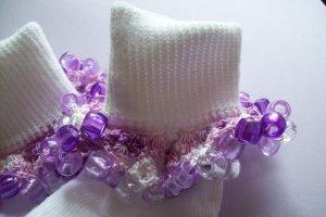 Purple Plaid Crocheted Beaded Bobby Socks Pink
