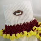 Burgandy and Yellow Football Spirit Beaded Bobby Socks