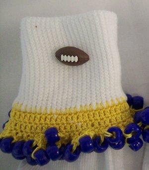 Yellow and Blue  Football Spirit Beaded Bobby Socks