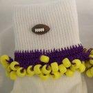 Purple and Yellow Football Spirit Beaded Bobby Socks