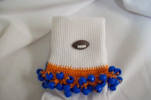 Orange and Royal Blue Football Spirit Beaded Bobby Socks