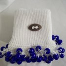 White and Dark Blue Football Spirit Beaded Bobby Socks