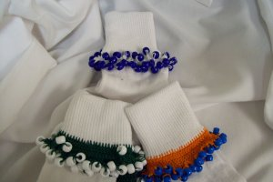 Dark Green and White Cheerleading/School Spirit Beaded Bobby Socks