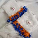 Orange and Royal Blue Baseball Spirit Beaded Bobby Socks