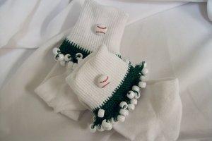 White and Green Baseball Spirit Beaded Bobby Socks