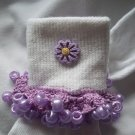 Purple Flowered  Girls Custom Beaded Crocheted Socks