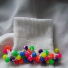 Neon Fringe  Girls Custom Beaded Crocheted Socks